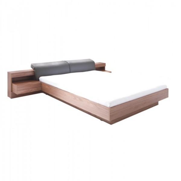 TEMPO KONDELA Manželská posteľ, 160x200, orech/grafit, REKATO