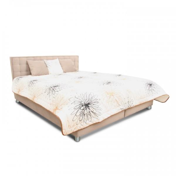 TEMPO KONDELA Manželská posteľ, svetlohnedá/vzor, 160x200, BORI