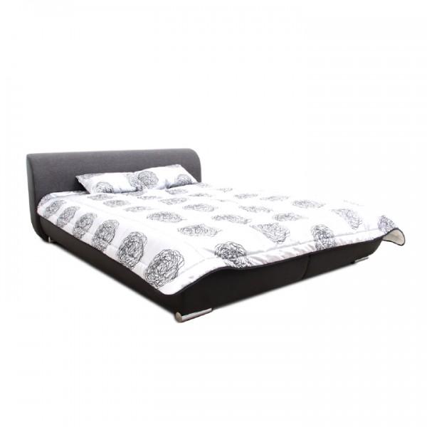 Manželská posteľ, čierna/tmavosivá/vzor, 160x200, MEO