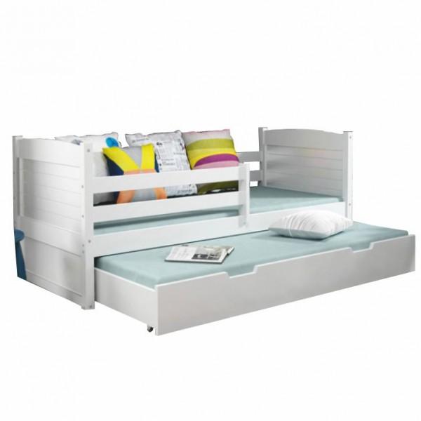 TEMPO KONDELA Drevená posteľ s prístelkou, biela, KORI 2