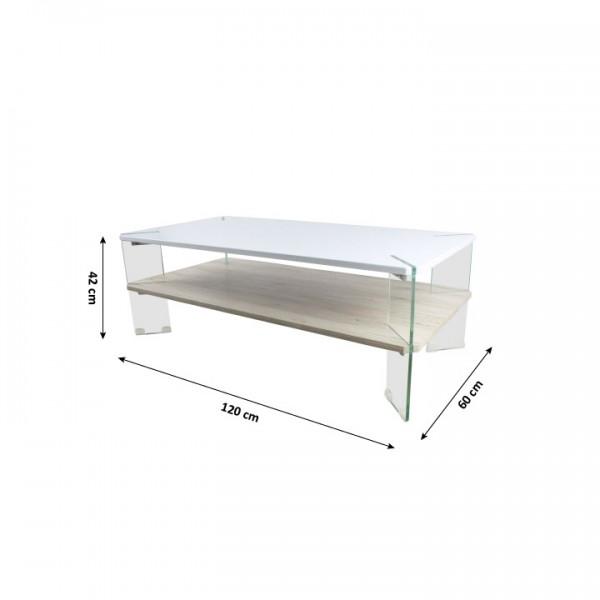 Konferenčný stolik, biela HG s leskom/vzor drevo, MABILO