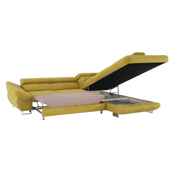 Rohová sedacia súprava, horčicová, pravá, FABIA