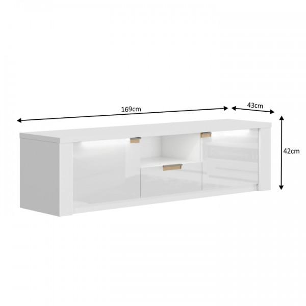 RTV stolík AR63, biely lesk/biela, ARTEK