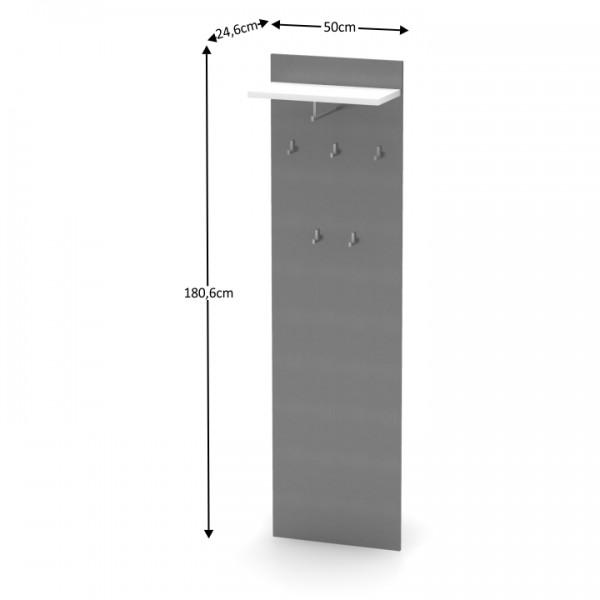 Vešiakový panel, grafit/biela, RIOMA TYP 19