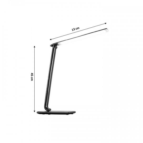 Stolná LED lampa s USB zdierkou, čierny lesk, WO37-B