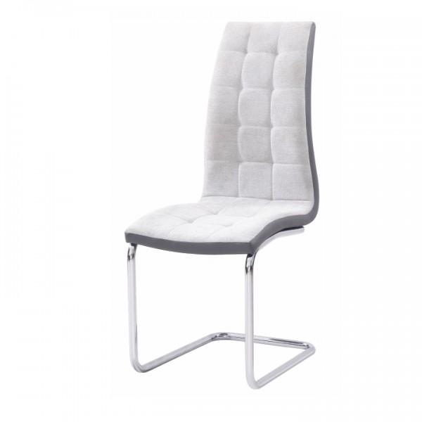 TEMPO KONDELA Jedálenská stolička, svetlosivá/sivá/chróm, SALOMA NEW