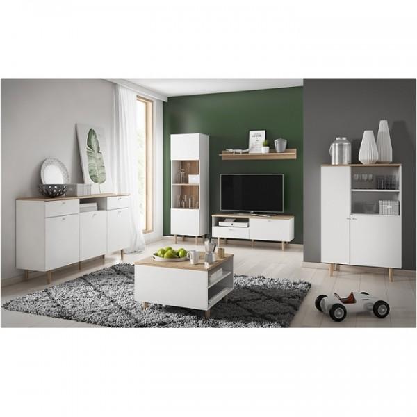 RTV stolík, biela/buk pieskový, LAVELI  LRTV150
