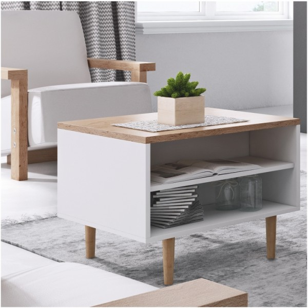 Konferenčný stolík, biela/buk pieskový, LAVELI  LL60