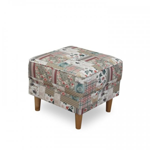 Kreslo ušiak s taburetom, látka patchwork Viorica 1, ASTRID