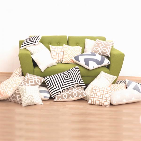 Vankúš, bavlna/vzor olivový, 45x45, NOVEL TYP 1