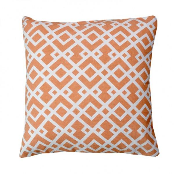 Vankúš, bavlna/vzor oranžová/biela, 45x45, NOVEL TYP 1