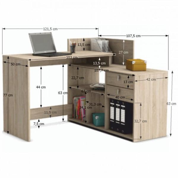 Rohový PC stôl, dub sonoma, VISTA
