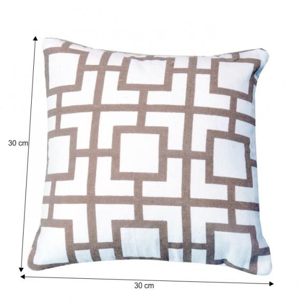 Vankúš, bavlna/biela/sivohnedá taupe/vzor, 30x30, NOVEL TYP 2