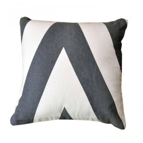 Vankúš, bavlna/vzor sivá/modrá, 30x30, NOVEL TYP 2