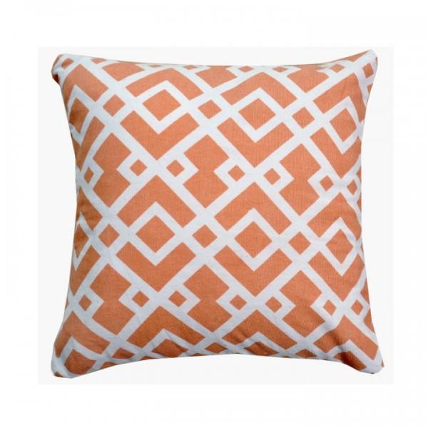 Vankúš, bavlna/vzor oranžová/biela, 30x30, NOVEL TYP 2
