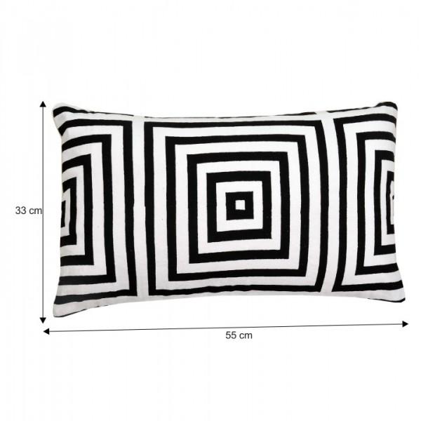 Vankúš, bavlna/vzor čierny pásik, 55x33, NOVEL TYP 3