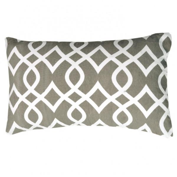 Vankúš, bavlna/vzor hnedá/sivá, 55x33, NOVEL TYP 3