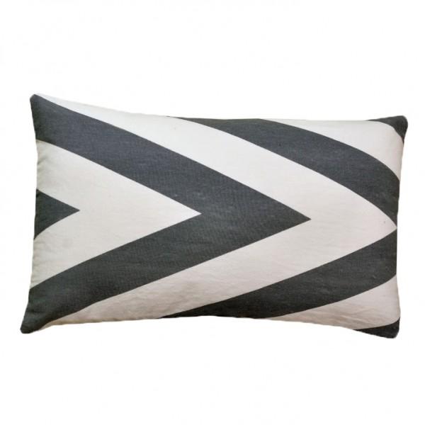 Vankúš, bavlna/vzor sivá/modrá, 55x33, NOVEL TYP 3