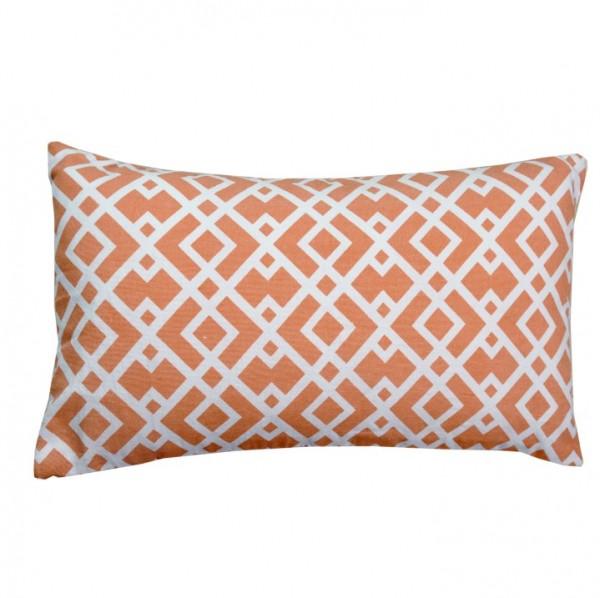 Vankúš, bavlna/vzor oranžová/biela, 55x33, NOVEL TYP 3