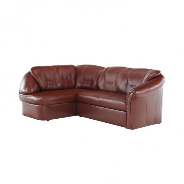 Luxusná sedacia súprava,  koža/ekokoža hnedočervená, ľavá, LAREDO
