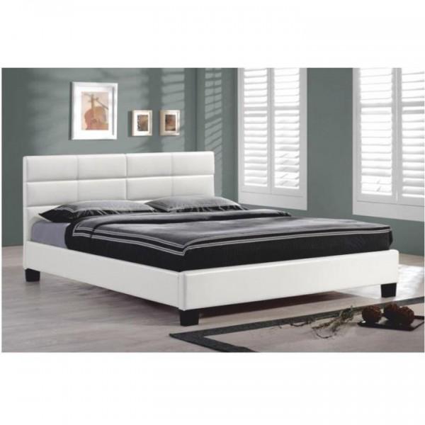 Manželská posteľ s roštom, 160x200, biela ekokoža, MIKEL