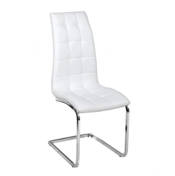 TEMPO KONDELA Jedálenská stolička, biela ekokoža, chróm, DULCIA