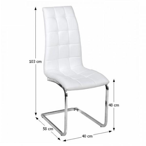 Jedálenská stolička, biela ekokoža, chróm, DULCIA