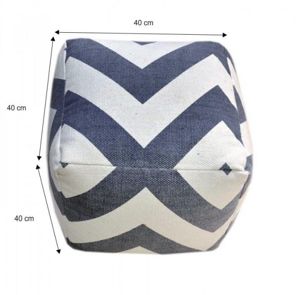 Taburet, bavlna, sivá/modrá/vzor, NOVEL