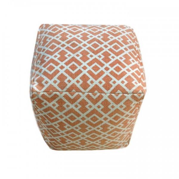 TEMPO KONDELA Taburet, bavlna, oranžová/vzor, NOVEL