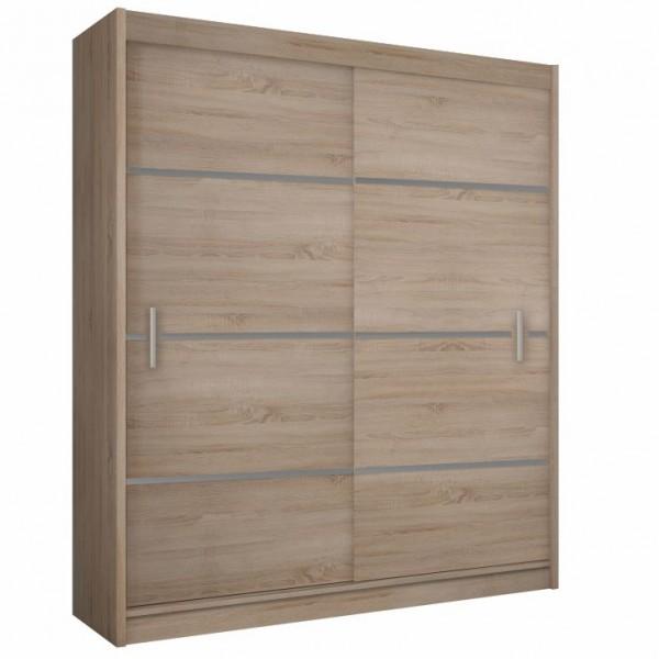 TEMPO KONDELA Skriňa s posúvacími dverami, dub sonoma/sivá, MERINA 150