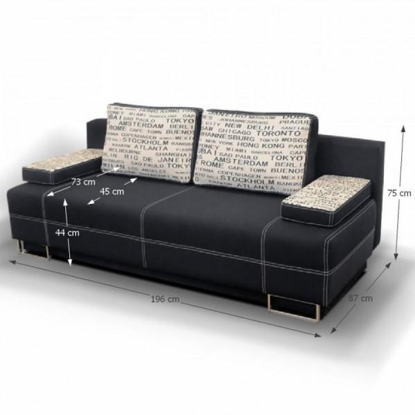 Rozkladacia pohovka s úložným priestorom, čierna/vzor, ELIZE