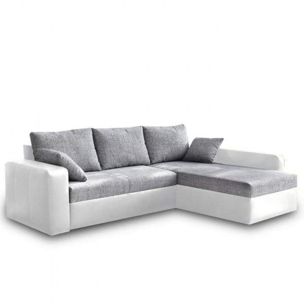TEMPO KONDELA Rohová sedacia súprava, ekokoža biela/šenil sivá, VIPER