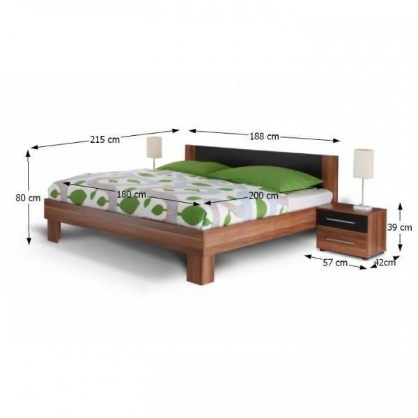Spálňový komplet (skriňa, posteľ a 2 nočné stolíky), orech/čiena, MARTINA