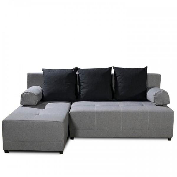 TEMPO KONDELA Rohová sedacia súprava, sivá/čierna, ľavá, MEXX