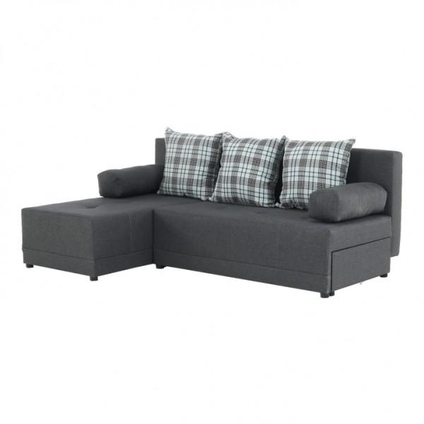 TEMPO KONDELA Rohová sedacia súprava, sivý melír/vzor, ľavá, MEXX