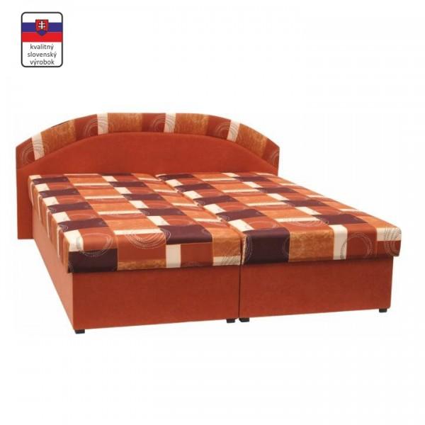 Manželská posteľ, pružinová, oranžová/vzor, KASVO