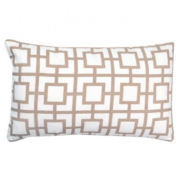 Vankúš, bavlna/biela/sivohnedá taupe/vzor, 55x33, NOVEL TYP 3