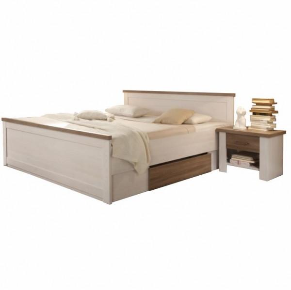 TEMPO KONDELA Posteľ + 2x nočný stolík, pínia biela/dub sonoma truflový, LUMERA
