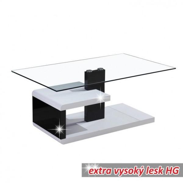 TEMPO KONDELA Konferenčný stolík, biela extra vysoký lesk HG/čierna extra vysoký lesk HG, LARS NEW