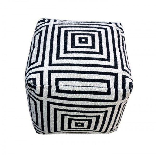 Taburet, bavlna, biela/čierna/vzor čierny pásik, NOVEL