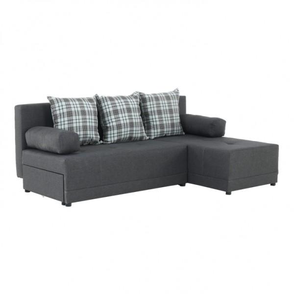 TEMPO KONDELA Rohová sedacia súprava, sivý melír/vzor, pravá, MEXX