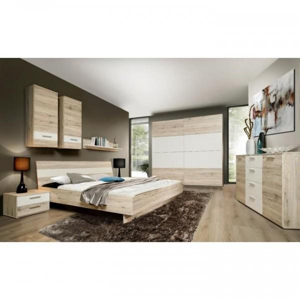 Spálňová zostava (skriňa/posteľ/2ks nočný stolík), dub piesková/biela, VALERIA
