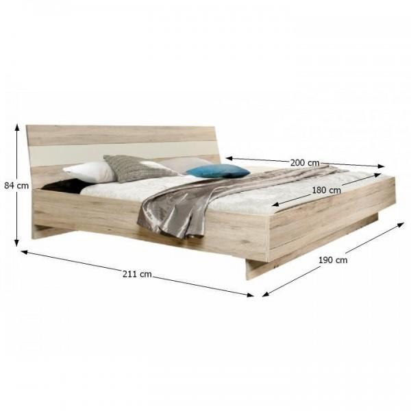 TEMPO KONDELA Spálňová zostava (skriňa/posteľ/2ks nočný stolík), dub piesková/biela, VALERIA
