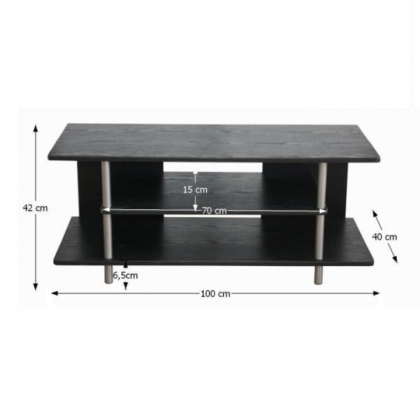 TEMPO KONDELA TV stolík, čierna/strieborná, QUIDO