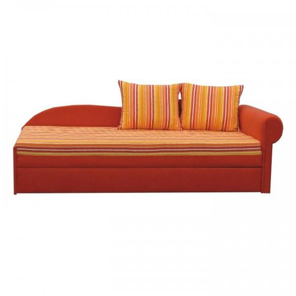 TEMPO KONDELA Rozkladacia pohovka, oranžová/pásikavý vzor, pravá, AGA D