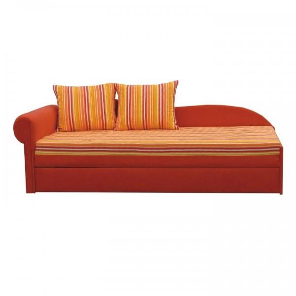 TEMPO KONDELA Rozkladacia pohovka, oranžová/pásikavý vzor, ľavá, AGA D