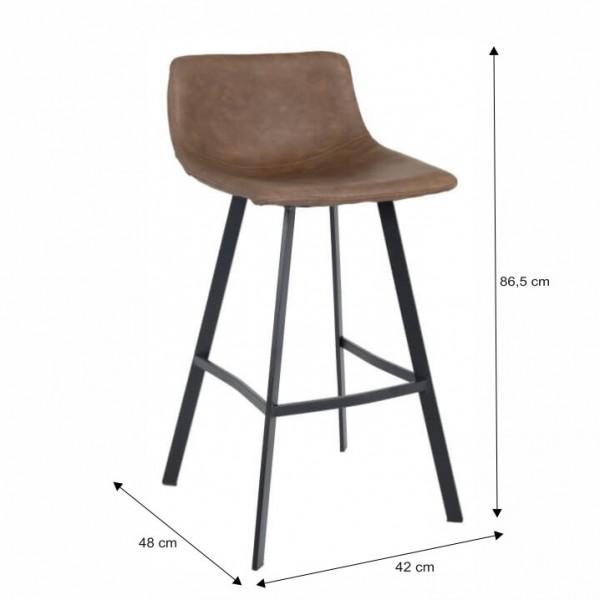 Barová stolička, tmavohnedá/čierny kov, FALUN