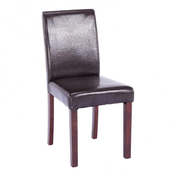 Jedálenská stolička, tmavohnedá ekokoža/drevo, VIVA NEW