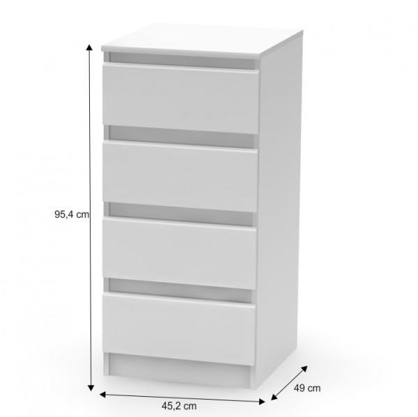 4 šuplíková komoda, biela, HANY 009
