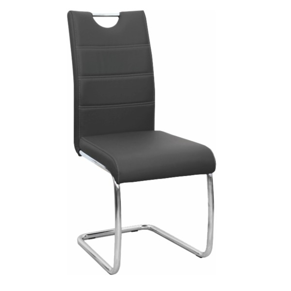 TEMPO KONDELA Jedálenská stolička, čierna/svetlé šitie, ABIRA NEW